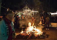 Wood is put onto the firevthe Yasaka Shrine, Kumagawa, Tokyo, Japan, just after mid-night, 01st Jan 2017. Locals make New Year wishes, where a fire keeps people warm and food is offered.