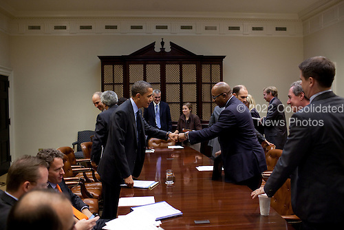 United States President Barack Obama fist-bumps U.S. Trade Representative Ron Kirk after a meeting in the Roosevelt Room of the White House, Thursday, October 28, 2010.  .Mandatory Credit: Pete Souza - White House via CNP