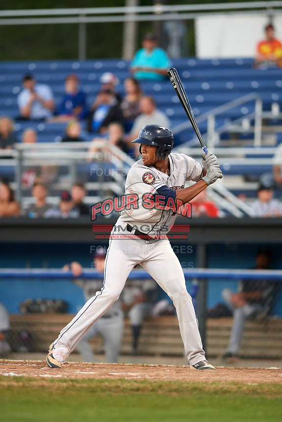 Mahoning Valley Scrappers right fielder Will Benson (7) at bat during a game against the Batavia Muckdogs on August 16, 2017 at Dwyer Stadium in Batavia, New York.  Batavia defeated Mahoning Valley 10-6.  (Mike Janes/Four Seam Images)