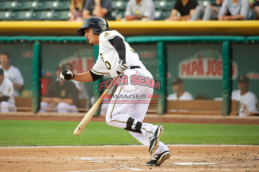 Roberto Lopez (30) of the Salt Lake Bees at bat against the Tacoma Rainiers in Pacific Coast League action at Smith's Ballpark on July 9, 2014 in Salt Lake City, Utah.  (Stephen Smith/Four Seam Images)