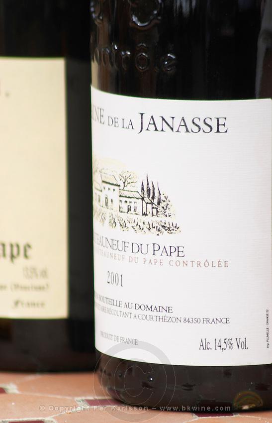 Bottle of Domaine de la Janasse 2001. The restaurant Le Verger de Papes in  Chateauneuf-du-Pape Vaucluse, Provence, France, Europe