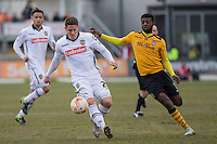 Filip Valencic of Notts County and Medy Elito of Newport County during the Sky Bet League 2 match between Newport County and Notts County at Rodney Parade, Newport, Wales on 30 April 2016. Photo by Mark  Hawkins / PRiME Media Images.