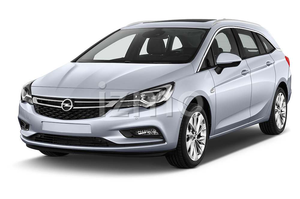 2016 Opel Astra Innovation 5 Door Wagon Angular Front stock photos of front three quarter view