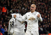 Pictured: Jonjo Shelvey of Swansea celebrating his goal Sunday 01 February 2015<br />