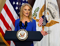 Counselor to the President Kellyanne Conway delivers remarks to High Intensity Drug Trafficking Area (HIDA) directors and deputy directors in the Indian Treaty Room of the Eisenhower Executive Office Building on the White House grounds, Washington, DC, February 7, 2019.<br /> CAP/MPI/RS<br /> &copy;RS/MPI/Capital Pictures