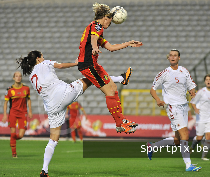 20130921 - BRUSSELS , BELGIUM :  Belgian Aline Zeler pictured with the header during the female soccer match between Belgium and Albania , on the first matchday in group 5 of the UEFA qualifying round to the FIFA Women World Cup in Canada 2015 at the Koning Boudewijn Stadion , Brussels . Saturday 21th September 2013. PHOTO DAVID CATRY