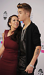 LOS ANGELES, CA - NOVEMBER 18: Pattie Mallette and Justin Bieber attend the 40th Anniversary American Music Awards held at Nokia Theatre L.A. Live on November 18, 2012 in Los Angeles, California.