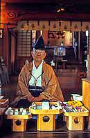 Shinto priest inside a temple on New Years day.