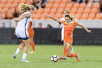 Houston, TX - Saturday July 08, 2017: Cami Privett attempts to strip the ball from Lindsey Horan during a regular season National Women's Soccer League (NWSL) match between the Houston Dash and the Portland Thorns FC at BBVA Compass Stadium.