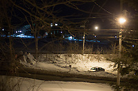 A fork in the road stands at the intersection of Horsebarn Hill Road (rear above snowbanks) and Gurleyville Road (foreground) near the site where Bruce Alan Ursin attempted to abduct and rape a young woman in 2012. The fork is at the edge of the University of Connecticut campus in Storrs, Connecticut, USA. Horsebarn Hill Road has a number of agricultural education facilities along it.