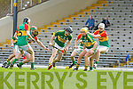Padraig Boyle Kerry picks up the loose ball ahead of his team mate John Griffin and John Corcoran Carlow in action during their Allianz Hurling league clash in Fitzgerald Stadium on Sunday