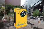 """July 1, 2019, Tokyo, Japan - A large object of Sony's portable audio player """"Walkman WM-F5"""" is displayed at the Ginza Sony Park in Tokyo for an exhibition to celebrate Walkman's 40th anniversary """"Walkman in the Park"""" which will be carried through September 1 on Monday, July 1, 2019. The first Walkman TPS-L2, portable stereo cassette player was born in July 1, 1979.    (Photo by Yoshio Tsunoda/AFLO)"""