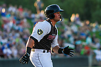Wisconsin Timber Rattlers catcher Payton Henry (15) runs to first base during a Midwest League game against the Clinton LumberKings on June 29, 2018 at Fox Cities Stadium in Appleton, Wisconsin. Clinton defeated Wisconsin 9-7. (Brad Krause/Four Seam Images)