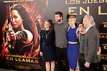 (L-R) Producer, actors Liam Hemsworth, Jennifer Lawrence and Josh Hutchersonn and director Francis Lawrence attend the Spanish photocall during the premiere of the film 'The Hunger Games: Catching Fire' (Tribute von Panem - Catching Fire) at Villamagna Hotel in Madrid, Spain. November 13, 2013. (ALTERPHOTOS/Victor Blanco)