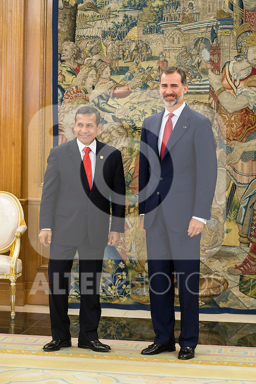 King Felipe VI of Spain receive the president of the republic of Perú, Sr. Ollanta Humala Tasso, y Sra. Nadine Heredia Alarcón at Zarzuela Palace in Madrid, Spain. July 07, 2015.<br />  (ALTERPHOTOS/BorjaB.Hojas)