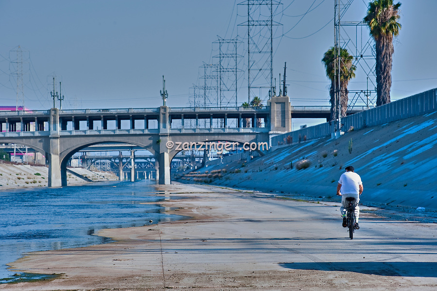 LA River; 7th Street Bridge, Bridges of East Los Angeles, CA, Train Tracks; Downtown; LA, CA; ,Power transmission lines,