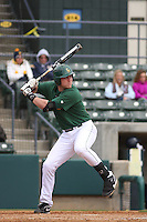 George Mason infielder Zack Helgeson #25 at bat during a game against the West Virginia Mountaineers at BB&T Coastal Field on February 26, 2012 in Myrtle Beach, SC.  George Mason defeated West Virginia 1-0. (Robert Gurganus/Four Seam Images)
