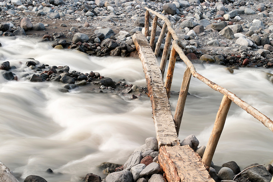 Foot log bridge over Nisqually River near Cougar Rock Campground, Mount Rainier National Park, Washington, USA