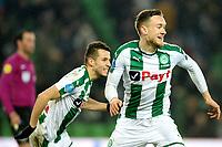 GRONINGEN - Voetbal, FC Groningen - PSV,  Eredivisie , Noordlease stadion, seizoen 2017-2018, 13-12-2017,   FC Groningen speler Mike te Wierik viert de 3-3