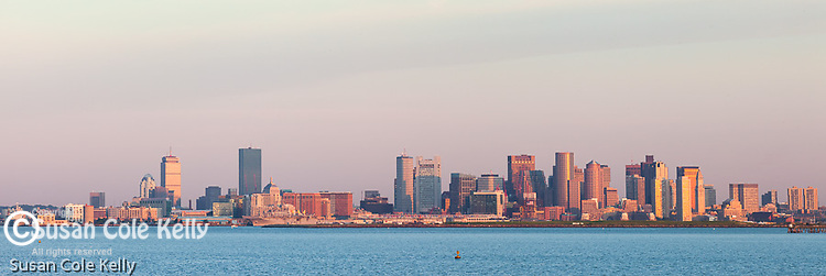 Sunrise in Boston Harbor, Boston, Massachusetts, USA