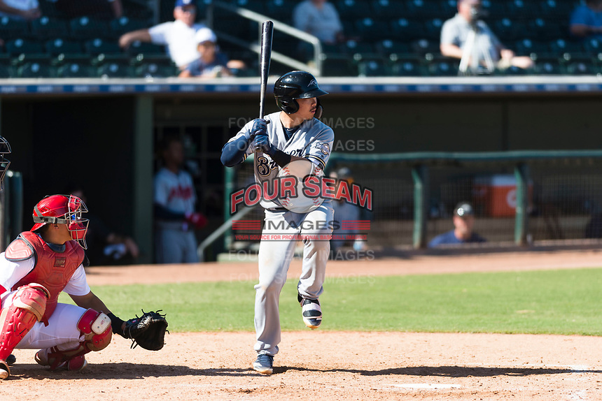 Peoria Javelinas second baseman Keston Hiura (23), of the Milwaukee Brewers organization, at bat in front of catcher Jeremy Martinez (4) during an Arizona Fall League game against the Surprise Saguaros at Surprise Stadium on October 17, 2018 in Surprise, Arizona. (Zachary Lucy/Four Seam Images)