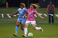Kansas City, MO - Friday May 13, 2016: Chicago Red Stars defender Casey Short (6) and FC Kansas City midfielder Heather O'Reilly (9) during a regular season National Women's Soccer League (NWSL) match at Swope Soccer Village. The match ended 0-0.