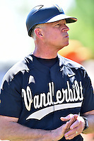 Vanderbilt Commodores head coach Tim Corbin (4) during a game against the Tennessee Volunteers at Lindsey Nelson Stadium on April 24, 2016 in Knoxville, Tennessee. The Volunteers defeated the Commodores 5-3. (Tony Farlow/Four Seam Images)