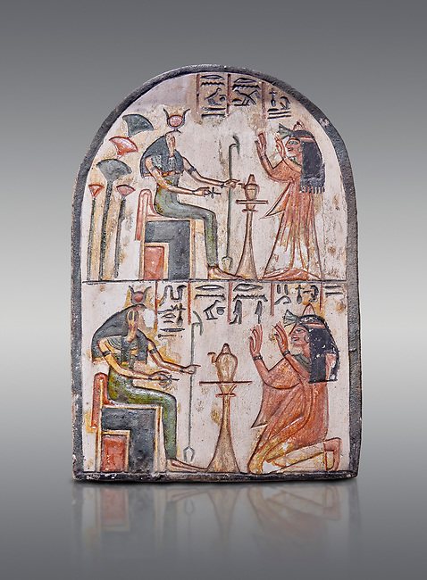 """Ancient Egyptian Ra stele , limestone, New Kingdom, 19th Dynasty, (1279-1190 BC), Deir el-Medina,  Egyptian Museum, Turin. Grey background.<br /> <br /> Akh iqer en Ra """" the excellent spirit of Ra' stele. One of three stele forund in different rooms of houses in Deir el-Medina where they stood in niches"""