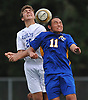 Harris Reimer #29 of Roslyn, left, and Bryan Jimenez #11 of Roosevelt look to make a header during a Nassau County varsity boys soccer game played at Roslyn High School on Thursday, Oct. 5, 2017.