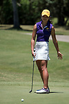 HOUSTON, TX - MAY 12: Cordelia Chan of Williams College reacts to a missed putt during the Division III Women's Golf Championship held at Bay Oaks Country Club on May 12, 2017 in Houston, Texas. (Photo by Rudy Gonzalez/NCAA Photos/NCAA Photos via Getty Images)