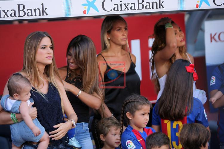 League Santander 2016/2017. Game: 1.<br /> FC Barcelona vs Real Betis: 6-2.<br /> Elena Galera, Antonella Roccuzzo, Sofia Balbi &amp; Carla Pardo.