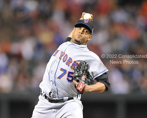 Baltimore, MD - June 16, 2009 -- New York Mets closer Francisco Rodriguez (75) pitches in the ninth inning against the Baltimore Orioles at Orioles Park at Camden Yards in Baltimore, Maryland on Tuesday, June 16, 2009.  The Mets won the game 6 - 4..Credit: Ron Sachs / CNP.(RESTRICTION: NO New York or New Jersey Newspapers or newspapers within a 75 mile radius of New York City)