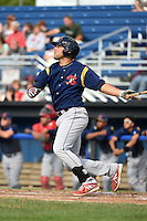 State College Spikes first baseman Alex De Leon (34) hits the first of three home runs on the day during a game against the Batavia Muckdogs on June 22, 2014 at Dwyer Stadium in Batavia, New York.  State College defeated Batavia 10-3.  (Mike Janes/Four Seam Images)