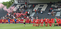 20180526 - Eupen , BELGIUM : Standard's team with their fans pictured during the final of Belgian cup 2018 , a soccer women game between KRC Genk Ladies and Standard Femina de Liege  , in the  Kehrweg stadion in Eupen , saturday 26 th May 2018 . PHOTO SPORTPIX.BE   DIRK VUYLSTEKE