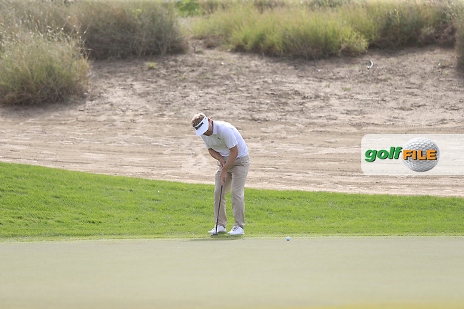 Soren Kjeldsen (DEN) on the 3rd during Round 1 of the Omega Dubai Desert Classic, Emirates Golf Club, Dubai,  United Arab Emirates. 24/01/2019<br /> Picture: Golffile | Thos Caffrey<br /> <br /> <br /> All photo usage must carry mandatory copyright credit (© Golffile | Thos Caffrey)