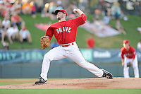 Starting pitcher Daniel McGrath (17) of the Greenville Drive delivers a pitch in a game against the Lexington Legends on Sunday, August 31, 2014, at Fluor Field at the West End in Greenville, South Carolina. Greenville won, 3-2. (Tom Priddy/Four Seam Images)