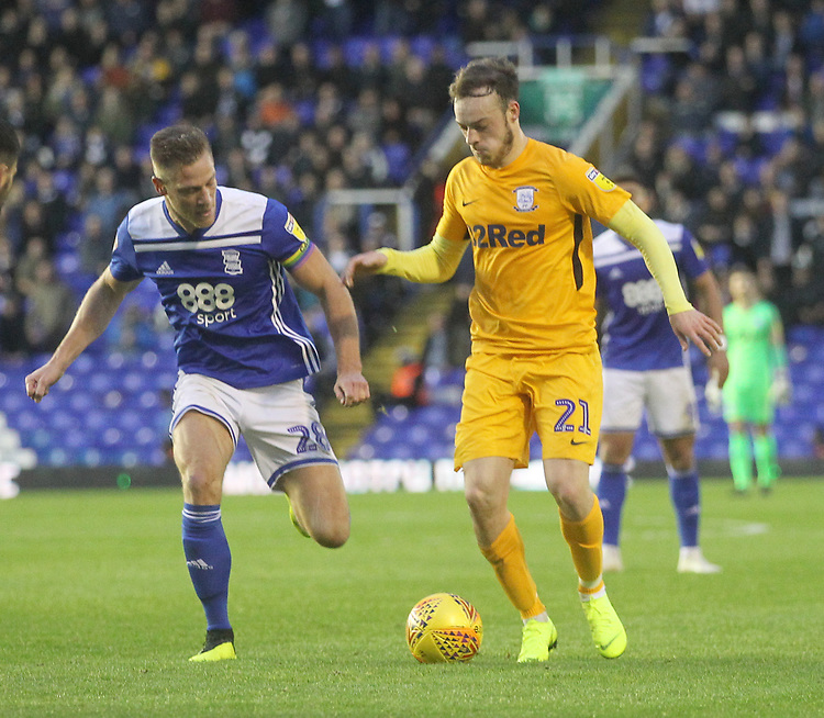 Preston North End's Brandon Barker in action with Birmingham City's Michael Morrison<br /> <br /> Photographer Mick Walker/CameraSport<br /> <br /> The EFL Sky Bet Championship - Birmingham City v Preston North End - Saturday 1st December 2018 - St Andrew's - Birmingham<br /> <br /> World Copyright © 2018 CameraSport. All rights reserved. 43 Linden Ave. Countesthorpe. Leicester. England. LE8 5PG - Tel: +44 (0) 116 277 4147 - admin@camerasport.com - www.camerasport.com