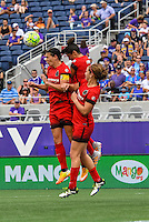 Orlando, FL - Sunday June 26, 2016: Lindsey Horan, Christine Sinclair, Nadia Nadim  during a regular season National Women's Soccer League (NWSL) match between the Orlando Pride and the Portland Thorns FC at Camping World Stadium.