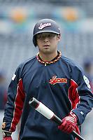 Nobuhiko Matsunaka of Japan during World Baseball Championship at Angel Stadium in Anaheim,California on March 20, 2006. Photo by Larry Goren/Four Seam Images