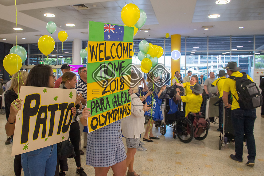 Welcome home - Sydney airport<br /> PyeongChang 2018 Paralympic Games<br /> Australian Paralympic Committee<br /> Sydney International Airport<br /> PyeongChang South Korea<br /> Tuesday March 20th 2018<br /> © Sport the library / Jeff Crow
