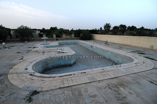 Africa, Tunisia, Gafsa. Neglected swimming pool.  --- No releases available, but releases may not be needed for certain uses.