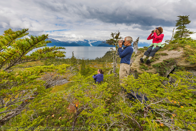 Hikers pause for a view during an hike in the Chugach National Forest, Prince William Sound, Alaska.