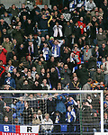 Bolton Wanderers 1  Blackburn Rovers 2, 17/03/2007. Reebok Stadium, Premiership. Bolton Wanderers playing Blackburn Rovers in a Premiership match at the Reebok stadium, Bolton. The home side were challenging for one of the Champions' League placings but it was Rovers who ran out 2-1 winners. Both Rovers' goals were scored from the penalty spot by Benni McCarthy. Picture shows the Blackburn fans' reaction as another chance is wasted. Photo by Colin McPherson.