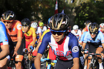 The peloton including Coryn Rivera (USA) on the 2nd circuit of Harrogate during the Women Elite Road Race of the UCI World Championships 2019 running 149.4km from Bradford to Harrogate, England. 28th September 2019.<br /> Picture: Andy Brady | Cyclefile<br /> <br /> All photos usage must carry mandatory copyright credit (© Cyclefile | Andy Brady)