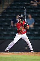 Carlos Arroyo (25) of the Hickory Crawdads at bat against the Charleston RiverDogs at L.P. Frans Stadium on August 25, 2015 in Hickory, North Carolina.  The Crawdads defeated the RiverDogs 7-4.  (Brian Westerholt/Four Seam Images)