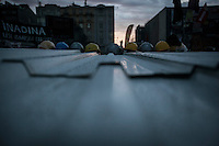 Helmets used by protesters during clashes with the anti-riot police are seen queueing in a line over a makeshift tent as down rises up in Gazi park of Taksim Square during a 24/7 masive rally against the turkish government in Istanbul, Turkey.
