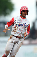 Williamsport Crosscutters pinch runner Robinson Torres (2) running the bases during a game against the Batavia Muckdogs on July 27, 2014 at Dwyer Stadium in Batavia, New York.  Batavia defeated Williamsport 6-5.  (Mike Janes/Four Seam Images)