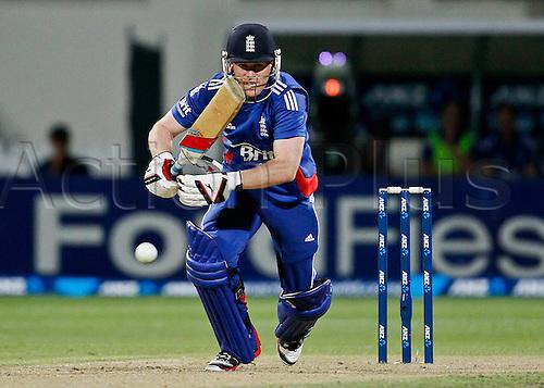 12.02.2013. Hamilton, New Zealand.  England's Eoin Morgan works a quick single.  ANZ T20 series. 2nd Twenty20 Cricket international.  New Zealand Black Caps vs England at Seddon Park, Hamilton, New Zealand.