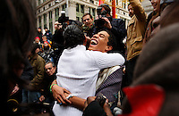 UNITED STATES, NEW YORK,  November 19, 2011..Ivan Cabrera (R) and Jonathan Lopez (C-L), a gay couple of Protesters affiliated with the Occupy Wall Street movement Celebrates Their symbolic wedding at Zuccotti Park, In Lower Manhattan New York November 19, 2011. VIEWpress /Kena Betancur.