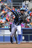 Omaha Storm Chasers starting pitcher Miguel Almonte (50) throws against the Round Rock Express at Werner Park on April 12, 2016 in Omaha, Nebraska.  The Express won 6-4.  (Dennis Hubbard/Four Seam Images)